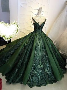 Sequin sparkly off the shoulder ball gown wedding/prom dress - various colors Beautiful wedding gown/dress made to fit your measurements! Shine beyond compare with this sparkle ball gown wedding/prom: - Choose from a range of elegant color Ball Gowns Evening, Ball Gowns Prom, Ball Gown Dresses, Royal Ball Gowns, Green Evening Dress, Green Gown Dress, Masquerade Ball Dresses, Red Ball Gowns, Flapper Dresses