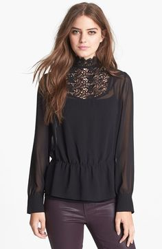 Hinge® Lace Mock Neck Sheer Top available at #Nordstrom NEED