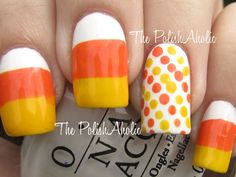 Think of holiday-themed nail art as the chic new version of your great aunt's Christmas sweaters. We dare you not to smile while wearing these candy corn cuties designed by The Polishaholic.  Filed Under:DIY, nails