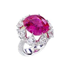 A breathtaking natural no-heat Burmese Pink Sapphire Ring surrounded by sixteen cushion brilliant cut Diamonds in an additional of carats by Forms, upcoming in Christie's Auction Hong Kong. Gems Jewelry, High Jewelry, Luxury Jewelry, Gemstone Jewelry, Jewlery, Pink Sapphire Ring, Sapphire Jewelry, Beautiful Rings, Piercings