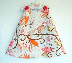 Wren in Mandarin - Toddler Dress - Summer Dress Pattern - Infant Dress Pattern  - Flower Girl Dress - Jumper Pattern - 3M through 4T. $37.00, via Etsy.