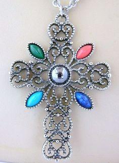 VTG Avon Celtic Cross Pendant Statement Necklace Signed Retro Costume Jewelry #Avon #Pendant
