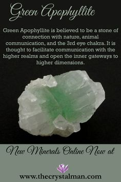 Green Apophyllite ~ Nature-Animal Communication-Third Eye-Higher Realms & Dimensions Shop new crystals online now at The Crystal Man!