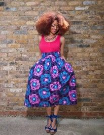 Keenia-Midi-Skirt-p_2 african print, wax print, ankara,natural hair, afro, black girls, zanjoo, midi skirt, blue, pink, pink vest, blue wedges, puffy skirt,