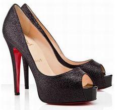 d6eb857abf27 ... greece christian louboutin 100 auth black prive glitter peeptoe platform  heels 37 f837b 36066 ...