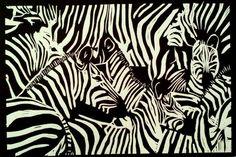 Zebra Lino Print
