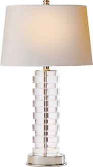 oval stacked crystal bedside lamp