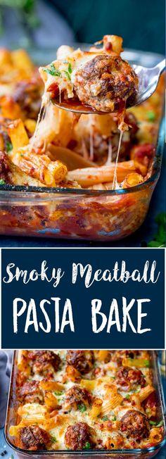 Smoky Meatball Pasta Bake - a meal the whole family will love! #meatballs #pastabake #meatballbake #familymeal #beef #mincedbeef #groundbeef via @kitchensanc2ary