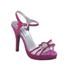 Fuchsia Glitter Pink Bow Prom Holiday Party Bridal High Heel Platform Shoe #Strappy