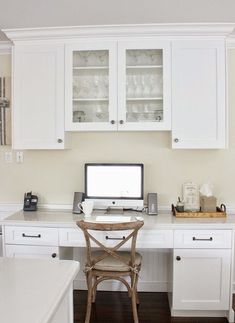 """What is Office Nook Into A Kitchen ideas? I don't know how many times you have heard about a """"kitchen suite"""" with a work station in the center. Kitchen Office Nook, Kitchen Desk Areas, Kitchen Desks, New Kitchen, Kitchen Dining, Dining Room, Updated Kitchen, Pantry Office, Kitchen Updates"""