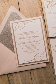 Real Wedding: Kelsey and Matthew | Blush and Gold Glitter Panel Pocket Wedding Invitations | Blush, gold, gold glitter, blush and gold, letterpress, calligraphy, panel pocket, wedding invitations, fancy, elegant, real wedding