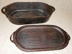 Old antiques baking pans and cake pans on pinterest for Cast iron fish fryer