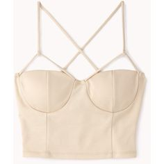 Crisscross Crop Top (£10) ❤ liked on Polyvore featuring tops, crop tops, shirts, bustier, crop top, bustier crop top, pink crop top, forever 21 and criss cross top