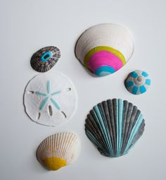 art actually: painted seashells!!! You could glue to canvas and frame with glass over top!!