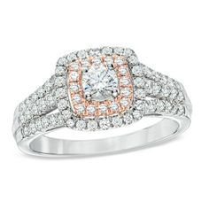 Celebration Grand™ 1 CT. T.W. Certified Diamond Engagement Ring in 14K Two-Tone Gold (H-I/I1)
