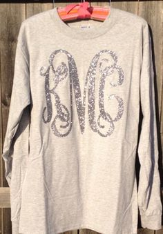sparkle monogram ~ I would love this on a colored sweatshirt like blue or pink (;