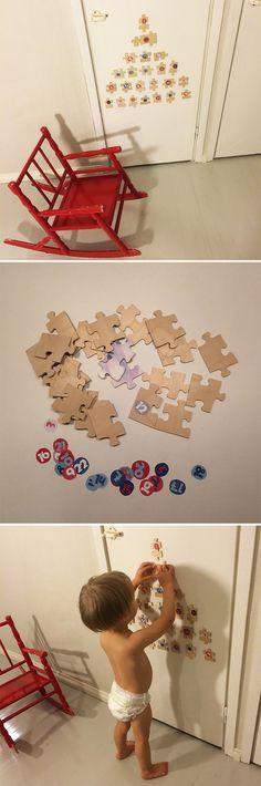 Joulukalenteri 25 palan palapelistä. lasten | askartelu | joulu | käsityöt | koti | joulukalenteri | sisustaminen | kierrätys | DIY ideas | kid crafts | christmas | home | decor | calendar | recycling | recycled materials | Pikku Kakkonen