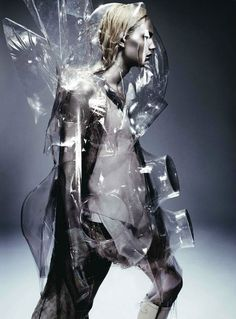 Featuring model Andrej Pejic, this editorial in Dazed and Confused magazine by photographer Anthony Maule and stylist Robbie Spencer looks like fashion from another planet. The shoot features alien armor, vaguely psychedelic superhero costumes and clear plastic exoskeletons. (Pinned by Stine Nordskov Hansen)