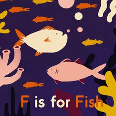 F is for Fish illustration print