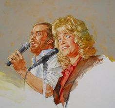 It's Country - 9 Lee Greenwood & Barbara Mandrell by Cliff Spohn ~ acrylic on board Play That Funky Music, Medium Art, Cliff, Illustrators, Wall Art, Portrait, Country, Drawings, Singers