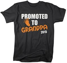 Shirts By Sarah Men's Promoted To Grandpa 2015 T-Shirt New Baby Reveal Shirts