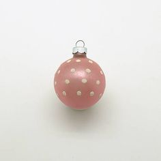 Vintage Christmas Glass Ornament Pink Shiny Brite Polka Dots