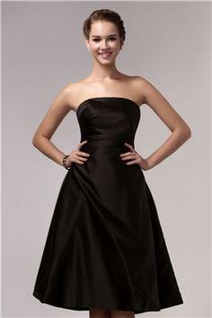 Brillante Vestido para Dama de Honor Silueta Línea A Longitud a la Rodilla Sin Tirantes Sandra's
