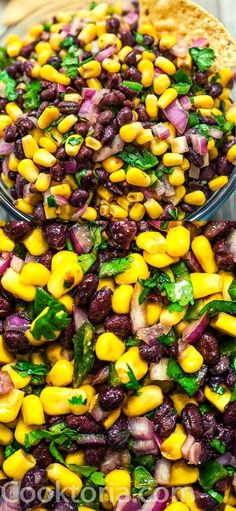 Make this Easy Black Bean and Corn Salsa in just 10 minutes! It's fresh and colorful, perfect for parties, so easy to make, and very addictive! Veggie Side Dishes, Vegetable Dishes, Fajita Vegetables, Veggies, Black Bean Corn Salsa, Black Bean Casserole, Bean Salads, Roasted Fingerling Potatoes, Taco Dinner