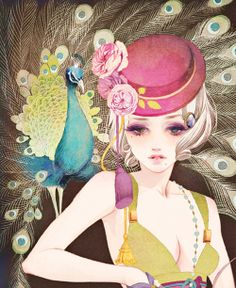 Shared by Find images and videos about girl, beauty and anime on We Heart It - the app to get lost in what you love. Japanese Illustration, Illustration Art, Peacock Art, Doll Painting, Manga Artist, Art Poses, Classical Art, Japan Art, Whimsical Art