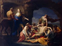 Thetis Takes Achilles from the Centaur Chiron, or Thetis entrusted Chiron with the Education of Achilles by Pompeo Batoni 1770 oil on canvas The State Hermitage Museum