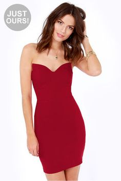 LULUS Exclusive Sound Off Strapless Red Dress at LuLus.com!  #Lulus #HolidayWear
