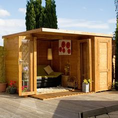12 x 8 Wooden Garden room Summerhouse with side shed Shed Office, Garden Office, Office Storage, Bungalows, Metal Storage Sheds, Contemporary Garden Rooms, Studio Shed, Garden Buildings, Wooden Garden