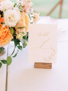 Calligraphy Table Numbers at Peachy Summer Wedding photographed by Annapolis + Destination Wedding Photographer, Renee Hollingshead as seen on Wedding Sparrow with Adriana Marie Events, Crimson & Clover Floral Design, White Glove Rentals, Sugarplum Tents, Kelsey Malie Calligraphy, Rouge Catering, Sugar Bakers Cakes, Show Me Your Mumu, Lovely Bride, Kate McDonald Bridal, and more at Whitehall -- a historic waterfront estate in Annapolis, Maryland. Wedding Signs, Wedding Venues, Wedding Table, Wedding Planning Tips, Wedding Planner, Floral Wedding, Wedding Colors, Unique Flower Arrangements, Destination Wedding Photographer