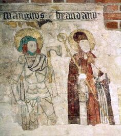 Church painting S:t Maria church in Helisngborg, region of Skåne, Sweden.  Made by the Helsinborg's master ca.1400