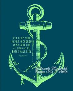 Anchored In Happily Ever After, Two.  8 x 10 Marriage Anchor Quote Fusion Paintographic Fine Art Print by Brandi Fitzgerald. $20.00, via Etsy.