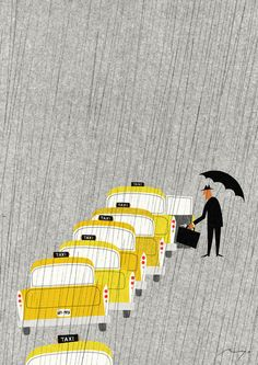 Taxi, New York | Ryo Takemasa  I just recently became aware of Takemasa's work. Love love love his #illustration style.