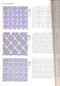 Irish lace, crochet, crochet patterns, clothing and decorations for the house, crocheted. Crochet Stitches Chart, Crochet Motifs, Crochet Diagram, Knitting Stitches, Knitting Patterns, Crochet Patterns, Crochet Diy, Bonnet Crochet, Crochet Books