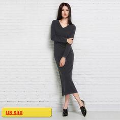 2018hot autumn/winter womens wear v-neck cashmere knit dress fashion lapel wool long wool dress