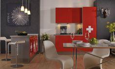 artFolie Schweizer Kreuz  Möbelfolie mit originellen Designs für individuelle Küchen.  www.monofaktur.de