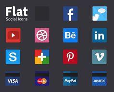 Free Flat Social Icons (psd) by FunkTheHype , via Behance