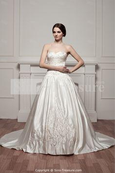 White A-Line Satin Court Train Sweetheart Wedding Dresses -Wedding & Events-Wedding Dresses-Sweetheart Wedding Dresses