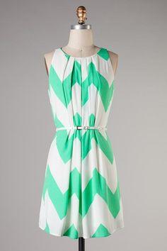 $58 - Mint chevron dress w/ belt
