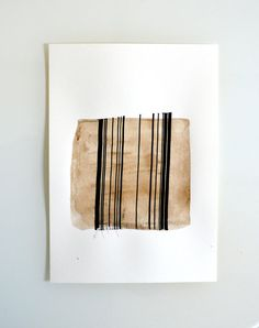 Original abstract art ink drawing -Black and white,modern, minimal,ink dark, movement, art ink, brown,sepia, ink wash by Cristina Ripper