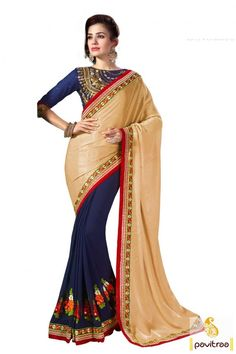 Add a feminine charm to your evening look with this beige cobalt blue creape patch work saree online in India. Purchase online this fashionable party wear saree with low range. #saree, #partywearsaree, #weddingsaree, #sari, #indianweddingsaree, #designersaree,   #sareewithblouse, #sarees, #Indiansaree, #sareecollection,   #sareesonlineshopping, #fashionsaree, #latestsaree, #designercollection More: http://www.pavitraa.in/store/party-wear-saree/ Any Query:			 Call Us:+91-7698234040