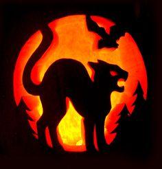 Cat Pumpkin Stencil, Cat Pumpkin Carving, Halloween Pumpkin Carving Stencils, Amazing Pumpkin Carving, Pumpkin Carving Templates, Pumpkin Art, Creative Pumpkin Carving Ideas, Scary Pumpkin Carving Patterns, Pumpkin Template