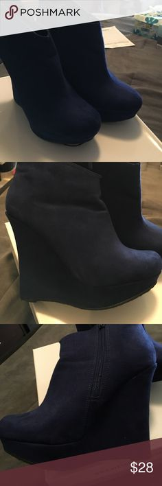 """Wedge boots Bucco navy blue 5"""" wedge heel ankle boots Shoes Heeled Boots"""