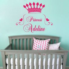 Home Decor Quote Princess Crown Wall Decal Heart Custom Personalize Name Monogram Baby Girl Nursery Room Vinyl Sticker M-82