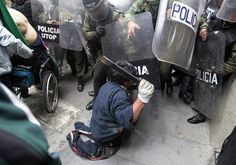 Disabled Protesters Vs. Riot Police. Your excuse looks pretty lame now, doesn't it?