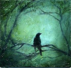 Blackbird Bramble, Oil on panel  painting by Giselle Gautreau  www.gisellesart.com