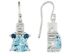 6.75ctw Trillion Glacier Topaz(Tm), .31ctw White Topaz, .42ctw London Blue Topaz Silver Earrings